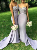 Pretty Sweet Heart Applique Mermaid with Train Long Bridesmaid Dresses, BW0251