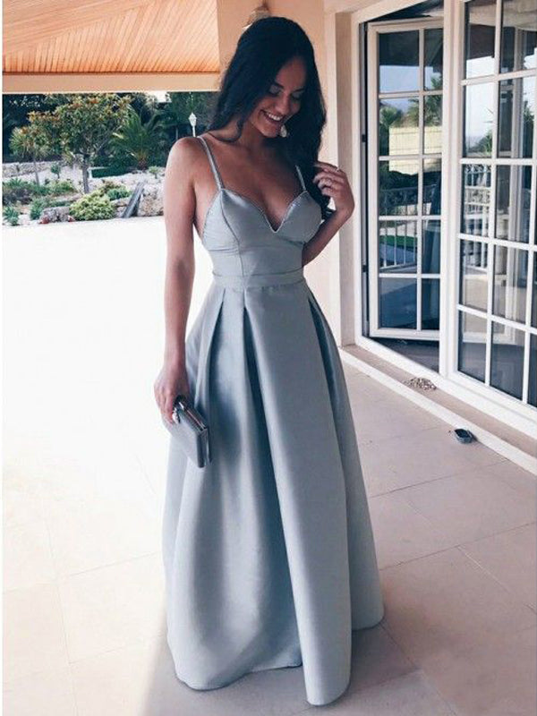 Elegant Light Blue Spaghetti Strap V-Neck Backless Floor Length Evening Prom Dresses, BW0534