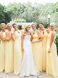 Pretty Light Yellow Halter Long Bridesmaid Dresses , BW0428