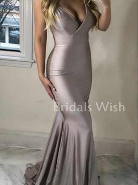 Affordable  Silver V-neck Spaghetti Strap Long Prom Dress EW0163