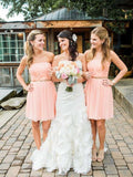 Cheap Pink Straight Short Bridesmaid Dresses , BW0411