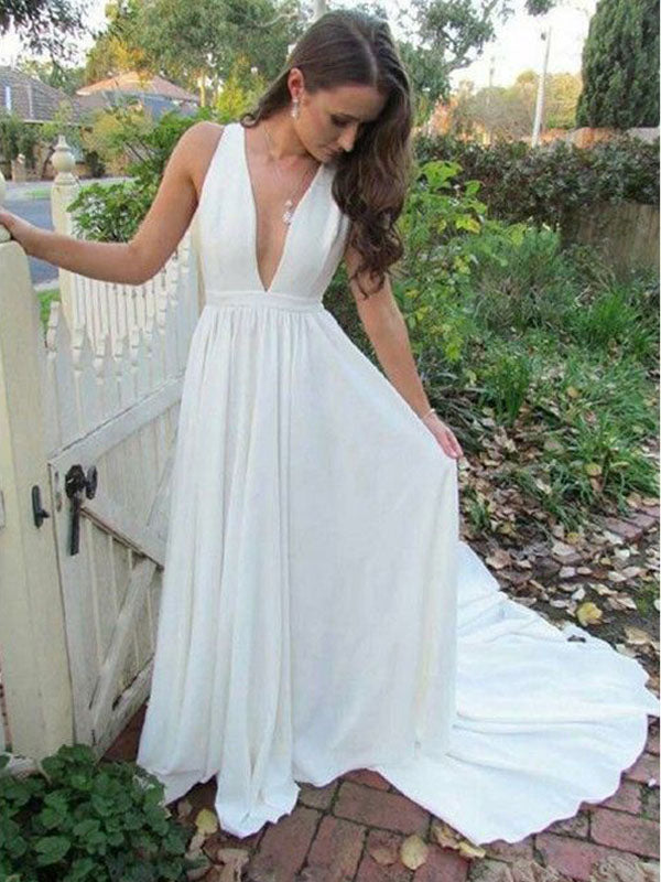 Pretty White Deep V-Neck Open Back Sweep Train Evening Prom Dresses, BW0543