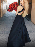 Gorgeous Black Deep V-Neck Open Back Side Slit Long Evening Prom Dresses, BW0540