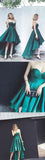 Charming Emerald Green Sweet Heart High-Low Short Homecoming Dresses, BW0097