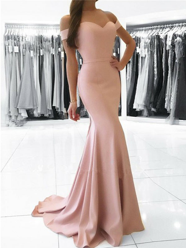 Pink Off the Shoulder Sweet Heart Mermaid Sweep Train Long Evening Prom Dresses, BW0331