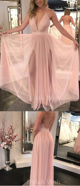 Cheap Pink Deep V-Neck Side Slit Tulle Long Evening Prom Dresses, BW0346