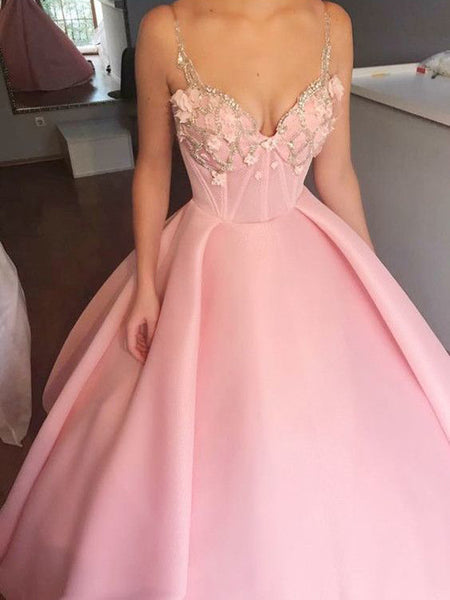 Pink Applique Top Spaghetti Strap Ball Gown Long Evening Prom Dresses, BW0332
