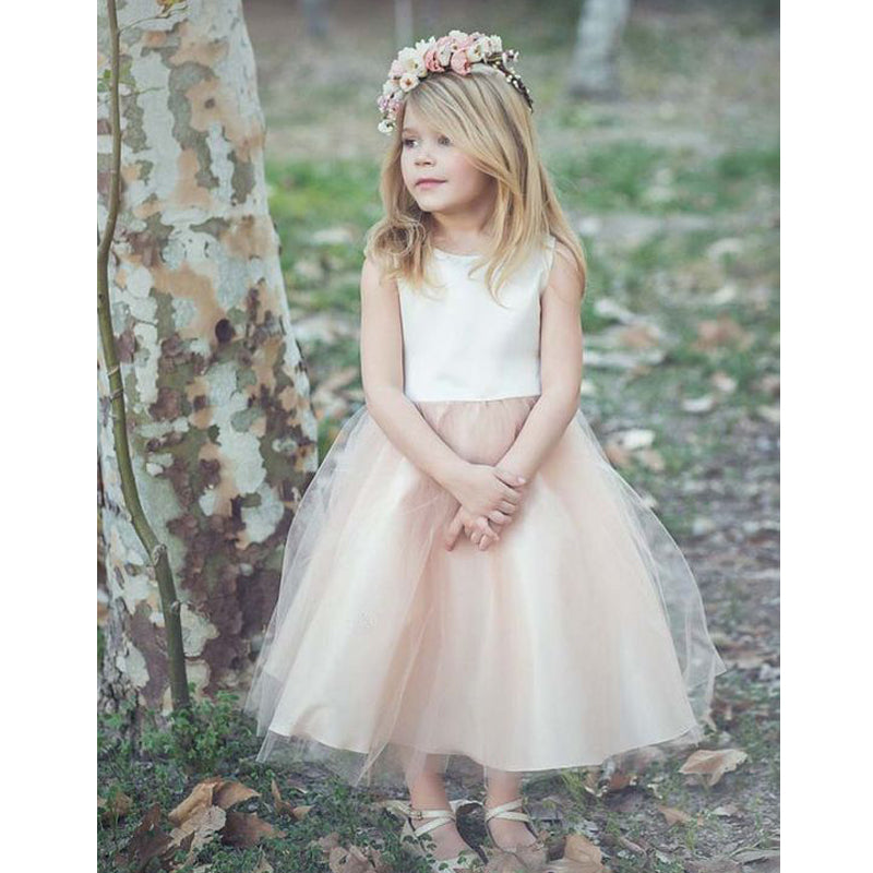 Cute Two Pieces White & Champagne Tulle Flower Girl Dresses , BW0248