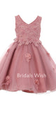 Cute Pink Lace Applique Tulle Short Flower Girl Dress EW0148