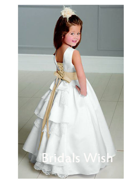 Lovely White  Sleeveless Lace Up Cute Flower  Girl  Dress BW0424