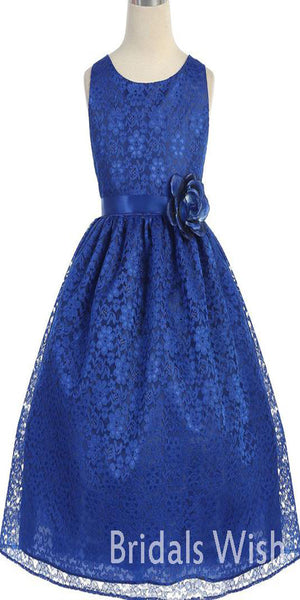 Simple Royal Blue Lace Lovely Flower Girl Dress BW0422