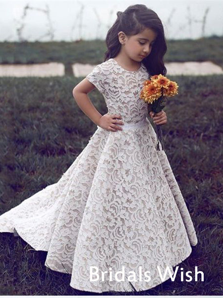 Cute Lace Short Sleeves Long Flower Girl Dress BW0420