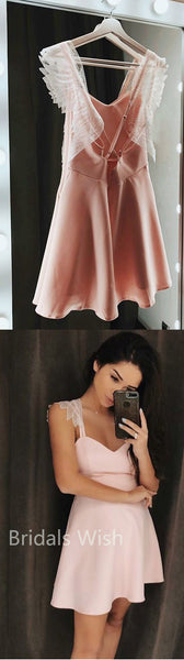 Lovely A-line Spaghetti Strap Pink Open Back Sweet Heart Lace Short Homecoming Dresses, BW0066