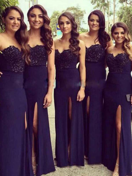 Pretty Dark Purple Lace Top Sweet Heart Side Slit Long Bridesmaid Dresses , BW0381