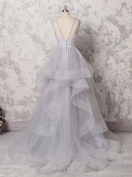 Lace Top Grey Organza Sleeveless Long Evening Prom Dresses, BW0278