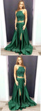 2 Pieces Green Lace Top Side Slit Long Evening Prom Dresses, BW0606