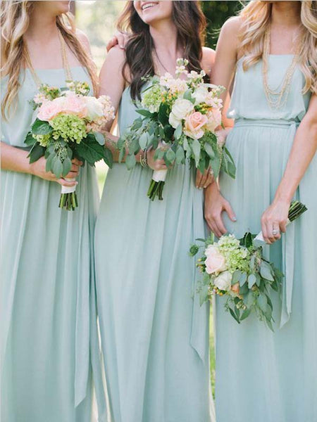 Simple Mint Green Chiffon Straight Long Bridesmaid Dresses, BW0167