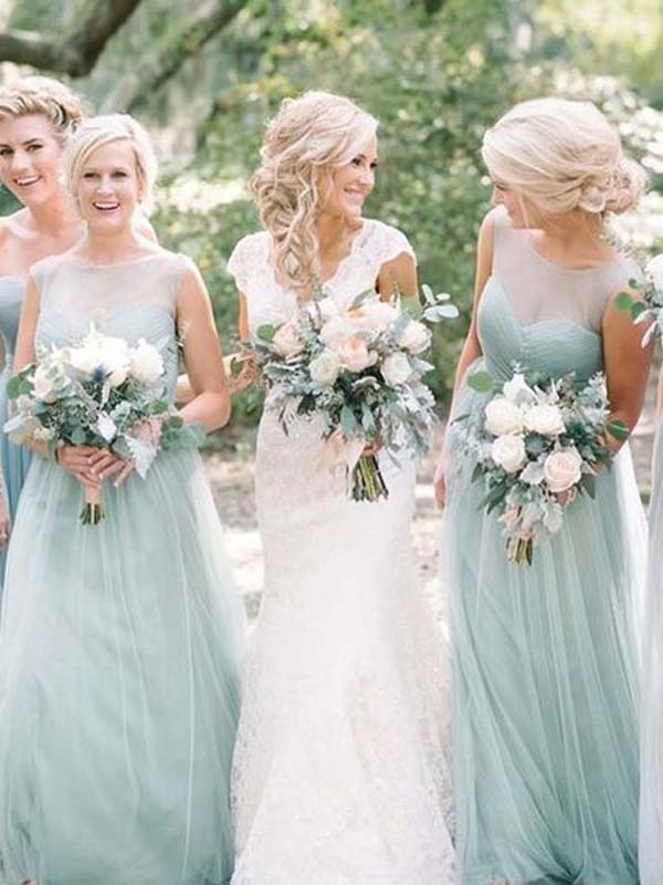 Summer Illusion Sweet Heart Tulle Long Bridesmaid Dresses, BW0164