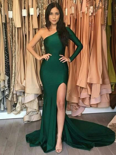 Modern Emerald Green One Shoulder Long Sleeve Side Slit Long Evening Prom Dresses, BW0573