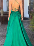 Inexpensive Green Spaghetti Strap Open Back Side Slit Floor Length Evening Prom Dresses, BW0564