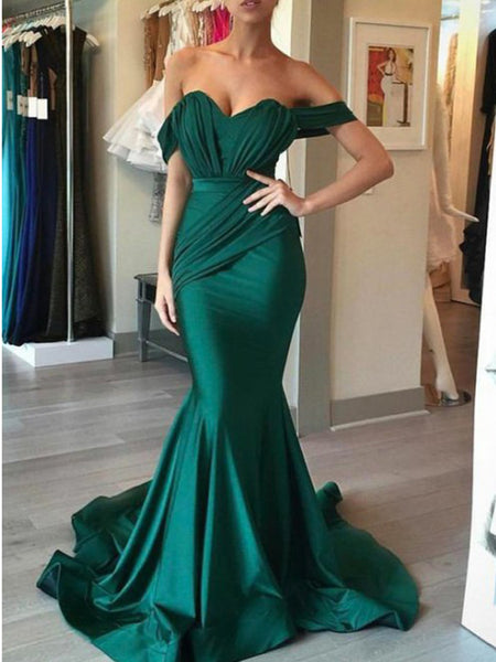 Charming Green Off the Shoulder Sweet Heart Mermaid Sweep Train Long Evening Prom Dresses, BW0323