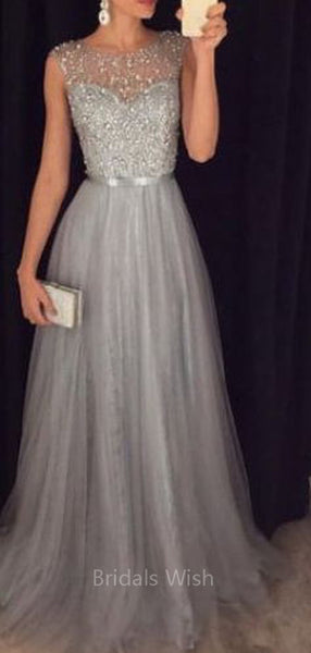 Gorgeous Grey Beaded Long Evening Prom Dresses, BW0627