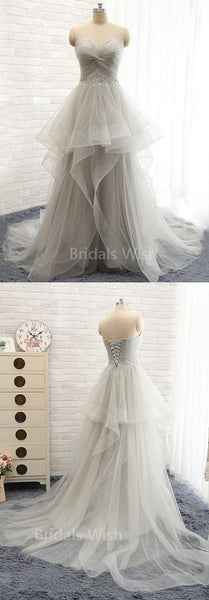 Gorgeous Organza Beaded Waistband Sweep Train Long Evening Prom Dresses, BW0301