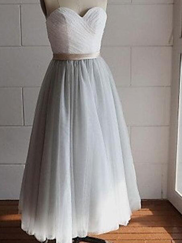 Cheap Sweet Heart White&Grey Ankle length Long Evening Prom Dresses, BW0239