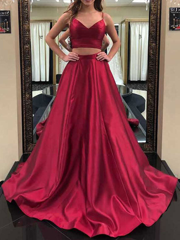 Elegant Burgundy Satin Spaghetti Strap V-Neck Sweep Train Evening Prom Dresses, BW0552
