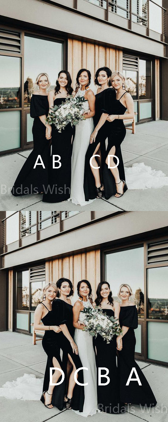 Elegant Black Off the Shoulder & Straight & One Shoulder & Spaghetti Strap Side Slit Long Bridesmaid Dresses , BW0510