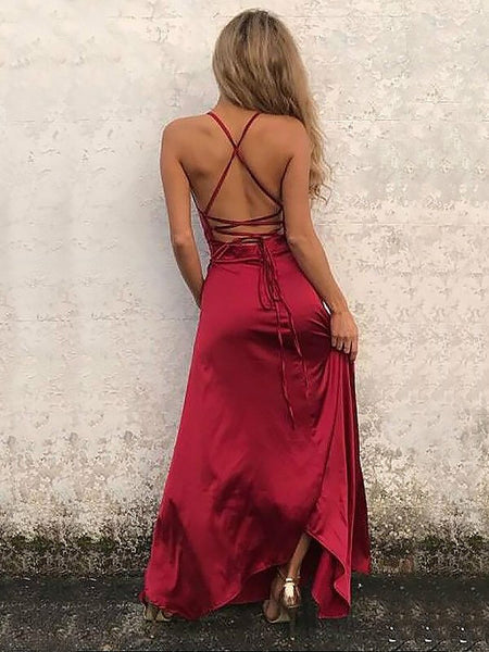 Charming Burgundy Halter Side Slit Long Long Evening Prom Dresses, BW0340