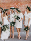 Unique V-Neck White Short Bridesmaid Dresses , BW0443