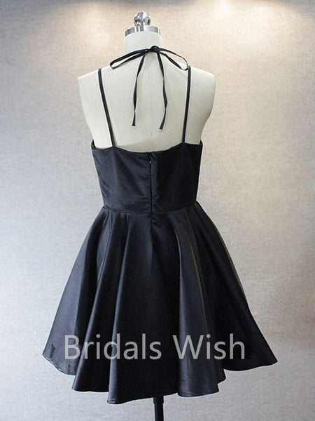 Simple Halter Black V-neck Short Homecoming Dresses, BW0062