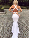 Pretty Halter V-Neck Backless Mermaid Long Evening Prom Dresses, BW0619