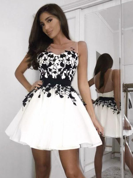 Pretty Applique Backless Sleeveless Short Homecoming Dresses, BW0519