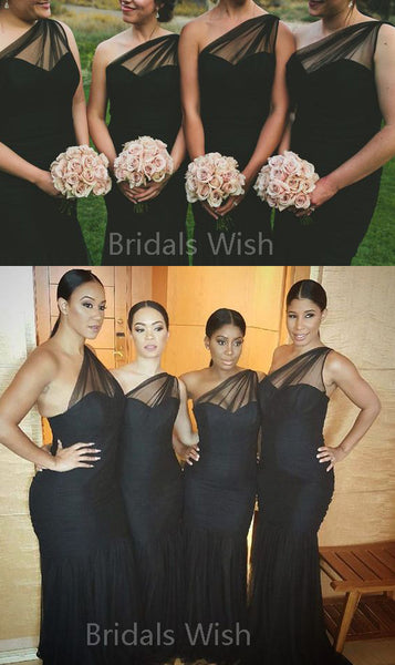 Charming Black One Shoulder Sweet Heart Long Bridesmaid Dresses , BW0515