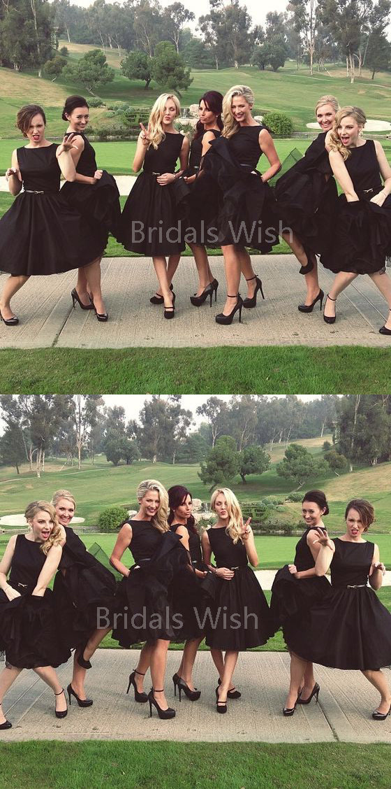 Popular Black Sleeveless Knee Length Bridesmaid Dresses , BW0516