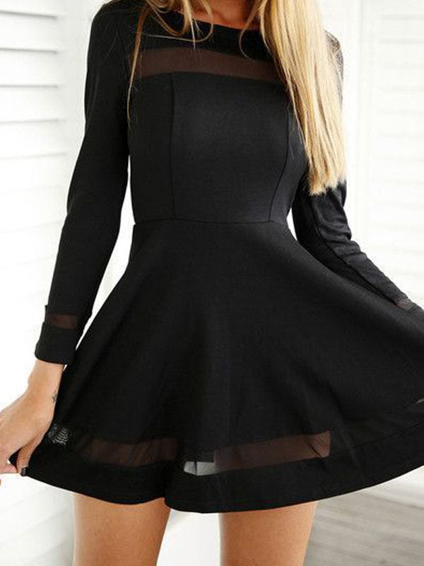 Unique Black Long Sleeves Short Homecoming Dresses, BW0254