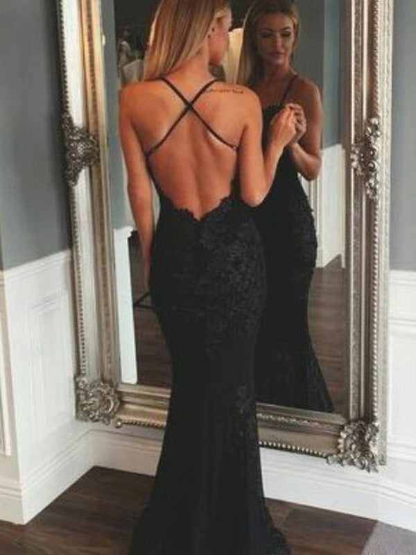 Charming Black Lace Spaghetti Strap Backless Long Evening Prom Dresses, BW0222
