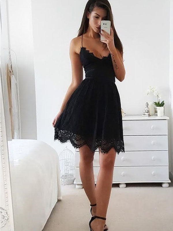 Black Lace Spaghetti Strap V-Neck Short Homecoming Dresses, BW0253