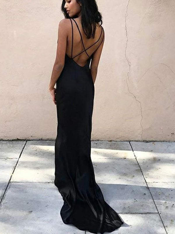Black Unique Cowl Neck Backless Criss-cross with Short Train Long Evening Prom Dresses, BW0311