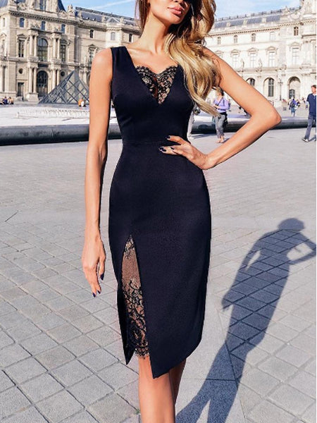 Black Lace Knee Length V-Neck Short Homecoming Dresses, BW0371