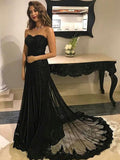 Black Lace Tulle Sweep Train Long Evening Prom Dresses, BW0288