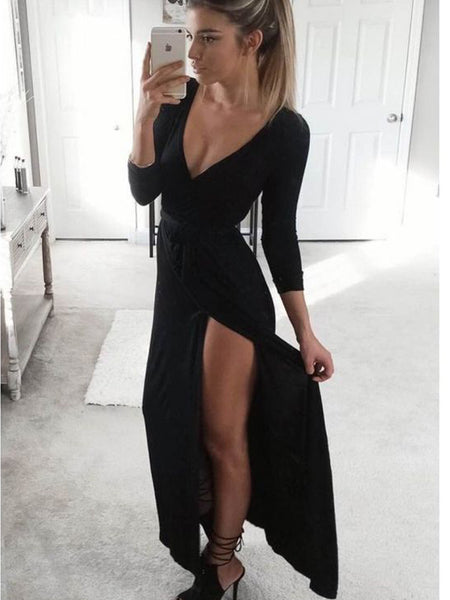 Inexpensive Black Long Sleeves V-Neck Side Slit Long Evening Prom Dresses, BW0317