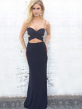 Sexy Black Spaghetti Strap Sweet Heart Backless Long Evening Prom Dresses, BW0343