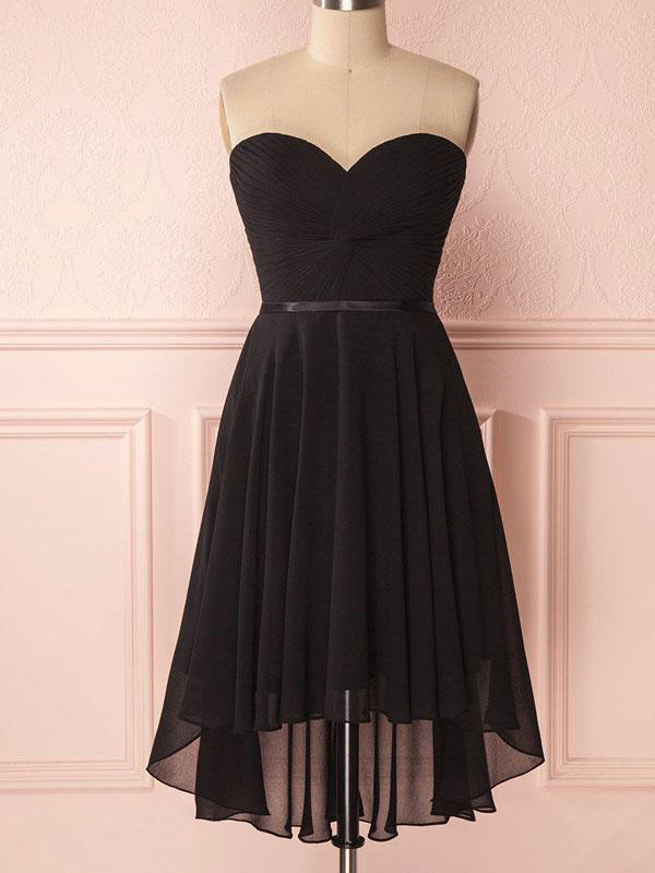 Cheap Black Sweet Heart High-Low Short Homecoming Dresses, BW0267