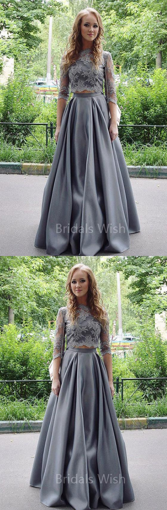Elegant Grey Two Pieces Lace Top Half Sleeves Floor Length Evening Prom Dresses, BW0528