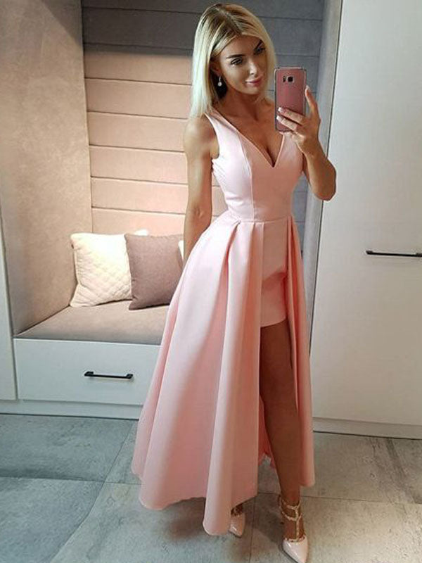 Unique Pink&Black V-Neck High-Low Long Evening Prom Dresses, BW0131