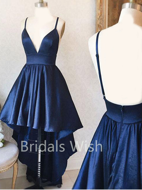 Royal Blue High-low V-neck Spaghetti Strap Backless Short Homecoming Dresses, BW0061