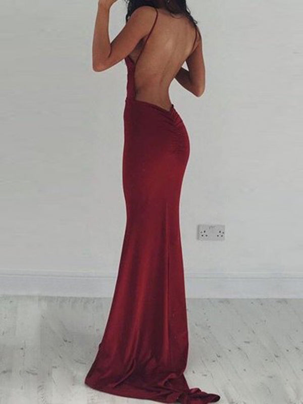 Charming Burgundy Open Back Spaghetti Strap Deep V-Neck Mermaid Long Evening Prom Dresses, BW0553